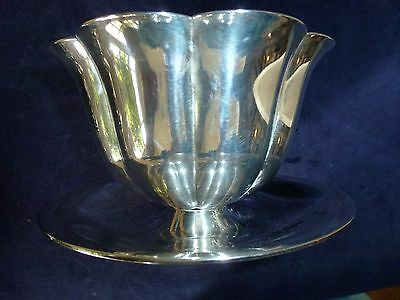 Vintage Silver Plated Bowl With Gilt Interior on stand