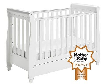 B Grade - Babymore Eva Sleigh Cot Bed Drop Side with Drawer - WHITE