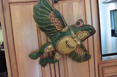 Vintage Flying solid core wood wooden Frog Hanging Ceiling peeper