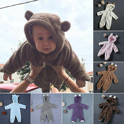 Newborn Infants Baby Grow Romper Hooded Bear Jumpsuit Boys Girls Clothes Outfit