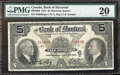 1931 Canada, Bank of  Montreal $5, PMG 20 Very Fine