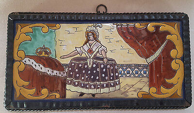 Antique Spanish Tile by Ramos Rejano in Metal Frame