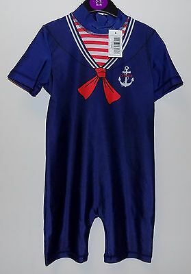BRAND NEW BOYS ALL IN ONE SUN SAFE NAUTICAL SAILOR SWIMSUIT AGES 1 up to 5 YEARS