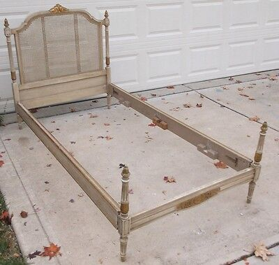 French painted cane twin bed ( made in Argentina)