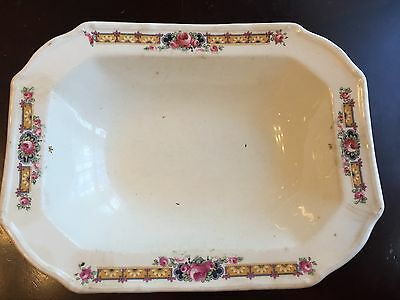 Antique T.S. & T. Paramount Ivory fine china dish with flowers