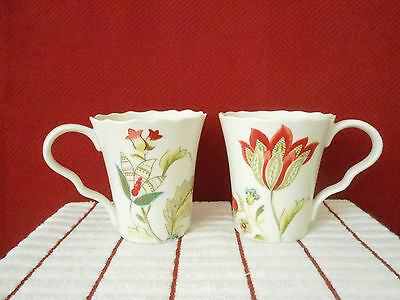 222 Fifth Bella Donna Set of 2- 10oz Coffee Cups New