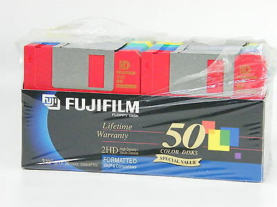"Fujifilm 3.5"" High Density 2HD Color Floppy Disks"
