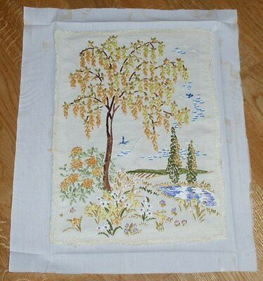"""ATTRACTIVE TREE/FLOWERS BY LAKE SCENE - COMPLETED EMBROIDERY 10"""" x 14"""""""