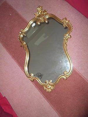 Vintage French Style Ornate gilt mirror, rococo baroque, gold coloured