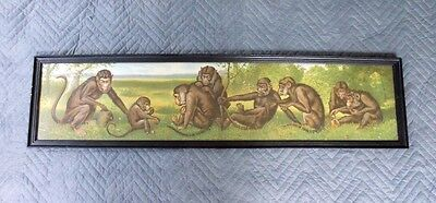 "Antique Yard Long Print w/ Wild Monkies - Entitled ""Happy Family"" #1037"