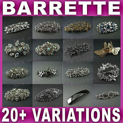 HAIR BARRETTE CLIP french clips barrettes slide slides VINTAGE DIAMANTE crystal