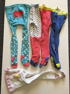 Mini Boden Baby Tights Lot 5 Pairs Cotton Knit Play Condition 12 24 Months