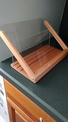 CRATE & BARREL Cook Book Stand/Holder Wooden with Plexi Glass. 522-678.