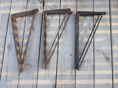 2 Industrial Metal Iron Shelving Brackets ~Vtg Heavy Duty Hardware ~ Rustic Barn