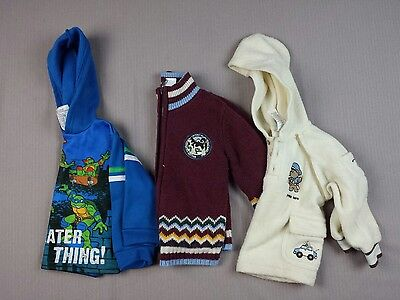 Baby Boy Sweater Lot of 3 Size 18 Months & 2T Hooded Zip Up Pull Over