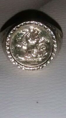 9ct gold on Silver George + Dragon Ring