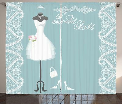 Blue Curtains Vintage French Bride Drees Window Drapes 2 Panel Set 108x84 Inches