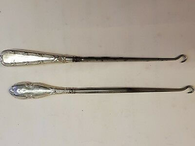 Antique Silver Handled Boot Hooks