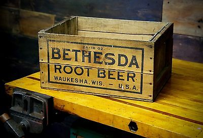 Vintage 16oz Bottle BETHESDA ROOT BEER WAUKESHA, WI Advertising Wooden Crate Box