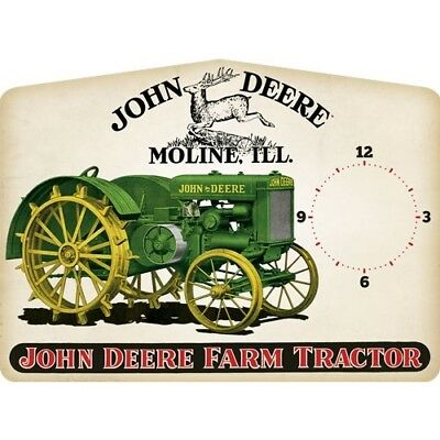 John Deere 90157450 Open Road Brands Die Cut Emb Tin Clock Clock