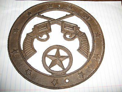 Old West Country Western Cross Guns Emblem Star Disc Cast Iron Plaque Decorative
