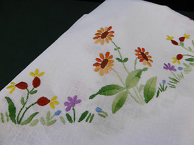 Vintage Linen Tablecloth-Hand Embroidered Spring Flowers-48""