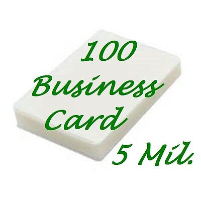 100- Business Card Laminating Laminator Pouches Sheets  5 Mil 2-1/4 x 3-3/4