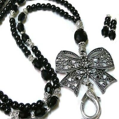 Black Bow Charm pearl and crystal, Beaded necklace lanyard, id badge holder