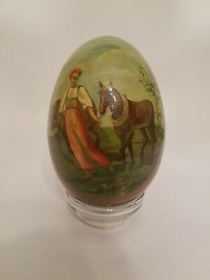 "Vintage / Antique 7"" Hand Painted Wooden Egg"