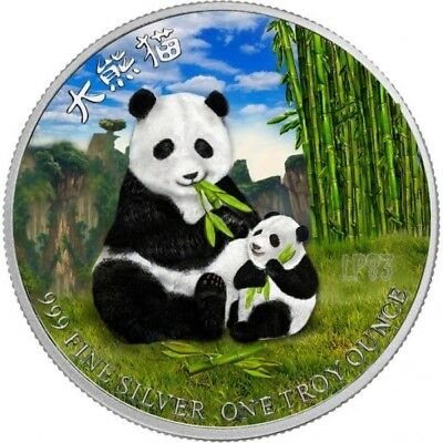 2017 1 Oz Silver PANDA WITH CUB Colorized - MINTAGE 100 PCS WITH BOX COA, Nieu..
