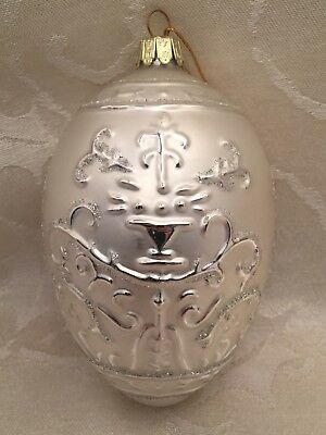 "Santa's Best Glass Christmas Tree Egg Shape Silver Ornament 5"" Victorian Style"