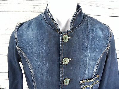 VTG Lois Denim Jacket Sanforized Selvedge Mandarin Collar sz Large