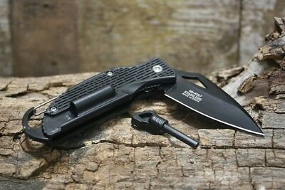 Master USA Spring Assisted Tactical Black Folding Knife Firestarter Carbineer Ne