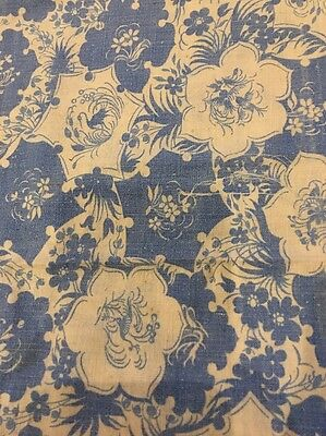 "Vintage Complete/ Full Feed sack Wedgwood Blue And White Floral 33"" X 42"""