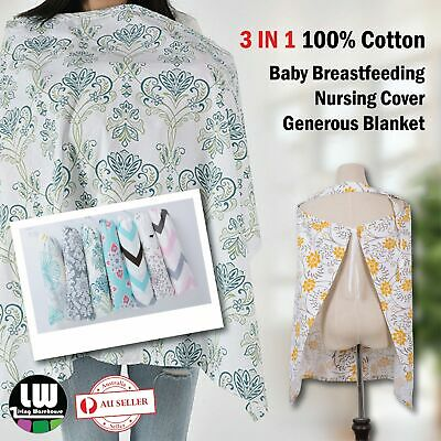 100% Breathable Cotton 3in1 Baby Breastfeeding Nursing Cover Generous Blanket OZ