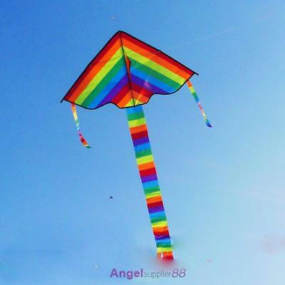 95x190cm Triangle Flying Rainbow Outdoor Sports Beach Kite Kids Summer Wind Gift