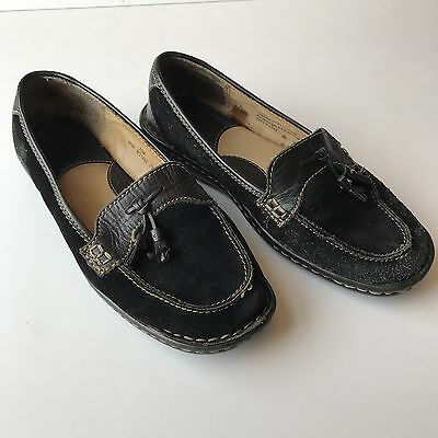 Born Tassel Loafer Slip-on Shoes Casual Black Suede Leather Womens Size 7US