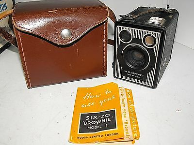 Kodak Brownie Six 20 Model E Film Camera And Case In Good Vintage Condition