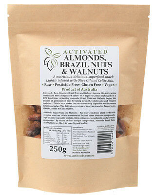 Raw Activated Almonds, Brazil Nuts & Walnuts 250g - Actifoods