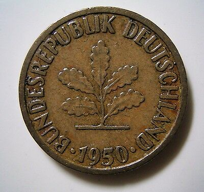 * 1950 Germany 5 Pfennig Small Bronze Coin,.. Good Circulated Condition *