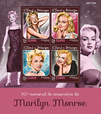Sao Tome & Principe 2016 MNH Marilyn Monroe 90th Mem 4v M/S Celebrities Stamps