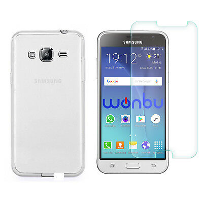 Transparent Cover + Tempered Glass For Samsung Galaxy J3 2016 SM-J320FN 5""