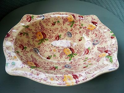 Johnson Bros Sovereign Old English Chintz Red Pink Oval Vegetable Bowl - Scarce