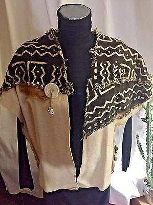 Ladies Vest Natural Fabric Ivory/Black OS Different