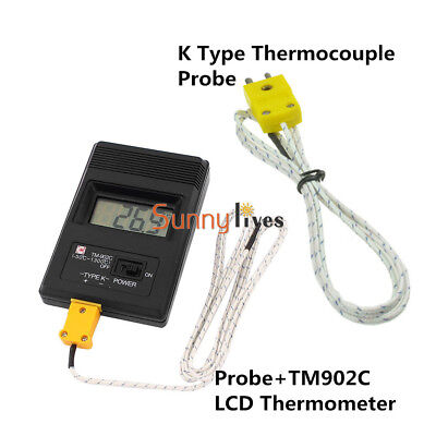 LCD TM902C K Type Thermometer Temperature Reader Meter Probe +Thermocouple Probe