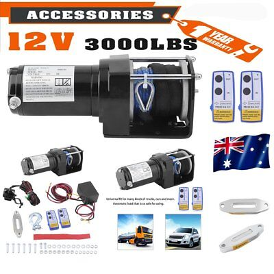 12V 3000LBS/1361KGS 2 Remotes Control Electric Winch Nylon Synthetic Rope 4WD BT