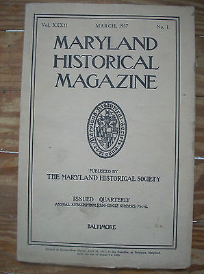 1937 Maryland Historical Magazine New Map of Province of Maryland in North Am.