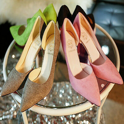 Women's High Slim Heels Lady Pointed Toe OL Stiletto Suede Formal Working Shoes