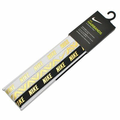 NIKE Elastic Hairbands 3 PK / One Size, Gold x Black x White