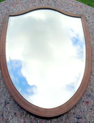 REGENCY. Shield Shape Bevelled Edge Wall Mirror with Satinwood Stringing  C1810